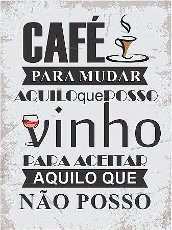 3590 Placa de Metal - Café e vinho