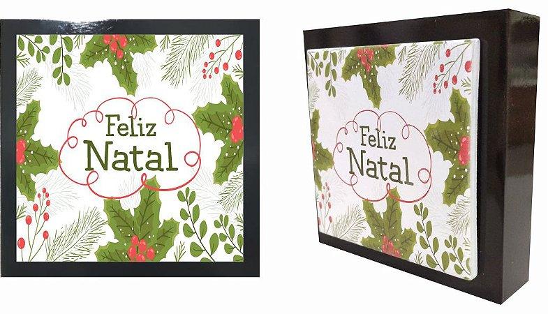 07-04-P045 Cubo Decor Preto - Folhas Natal