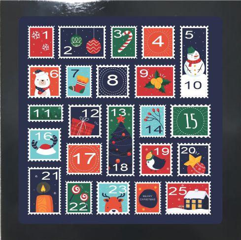 07-04-P050 Cubo Decor Preto - Calendário Natal