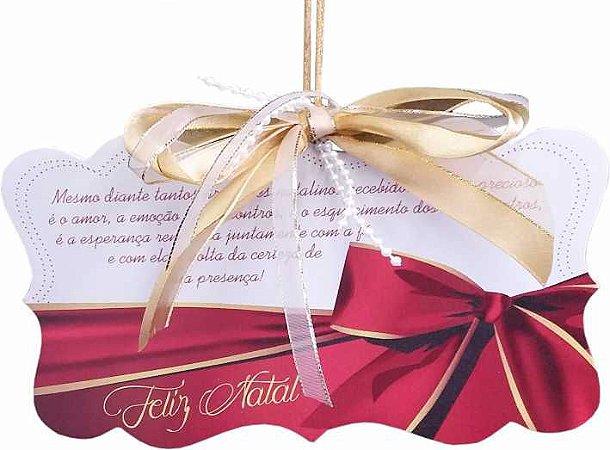 1788 - Placa MDF - Natal laço vermelho