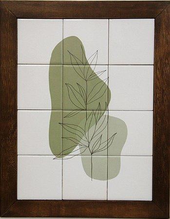 3093AM-075 Quadro de azulejo - Folhas