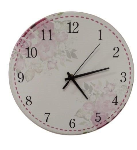 1700-037  Relógio Redondo - Floral Rosa
