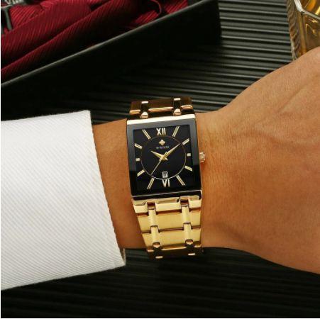 Relógio masculino WWOOR em aço inoxidável
