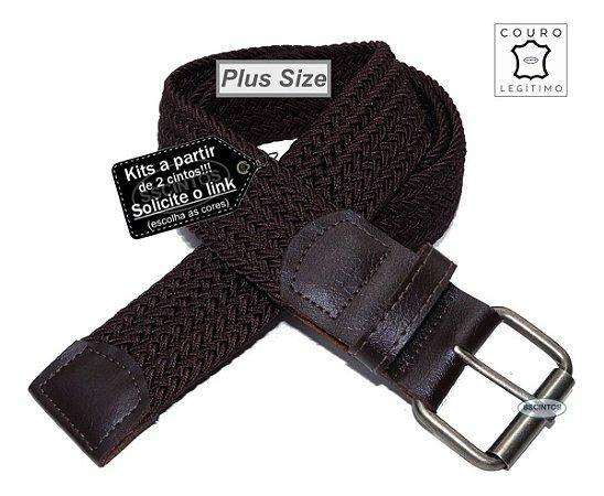 Cinto Plus Size Trançado Elástico Couro Legítimo 3,9cm Cf