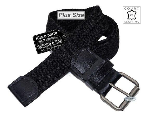 Cinto Plus Size Trançado Elástico Couro Legítimo 3,9cm Pt