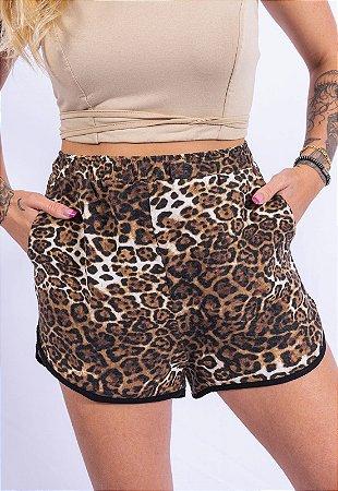 Shorts Animal Print Up Side Wear Bege