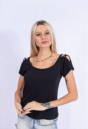 Blusa Canoa Ombro Detalhe Up Side Wear Preta