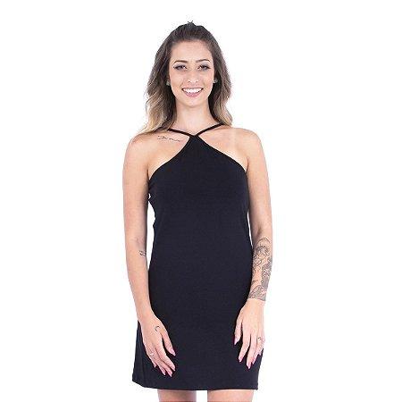 Vestido Decote X Preto