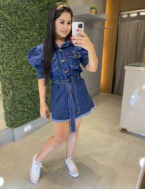 Vestido Jeans Manga Bufante