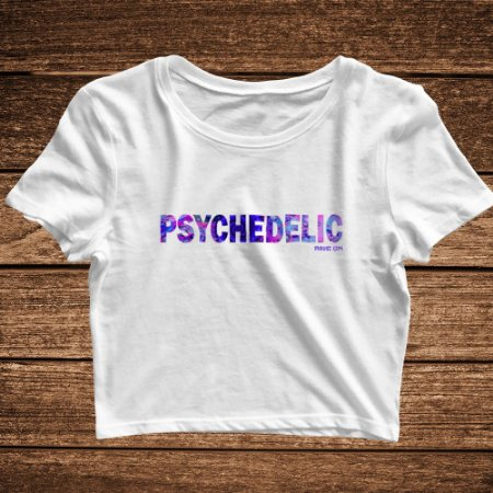 Cropped Psychedelic Branco - Rave ON