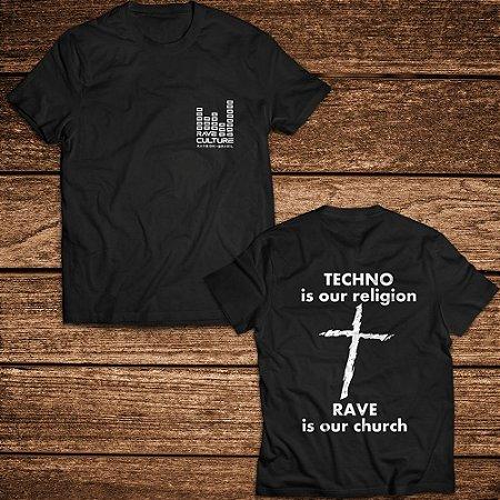 Camiseta Techno is our Religion - Rave ON