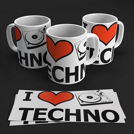 Caneca I love Techno - Rave ON