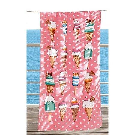 Toalha de Banho e Praia Aveludada Dohler Ice Cream Rosa