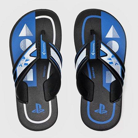 Chinelo Grendene Kids Infantil Playstation Play Preto com Azul