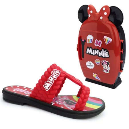 Chinelo Slide Minnie Disney Vermelho com Brinde Mini Geladeira