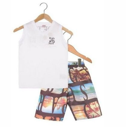 Conjunto 2pçs Big Waves Infantil Branco Brandili 22746