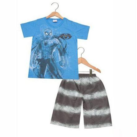 Conjunto 2 peças Brandili Infantil Homem-Aranha Azul/Preto 22874-2653