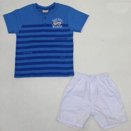 Conjunto 2 peças Camiseta com Botão e Bermuda Sarja Milon 4895