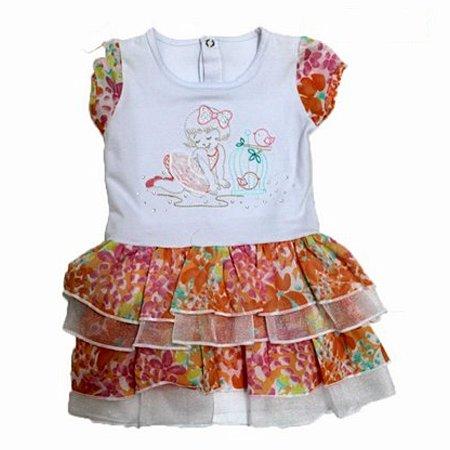 Vestido com Babado 3 peças Calcinha Faixa de Cabelo Paraíso 018.5204