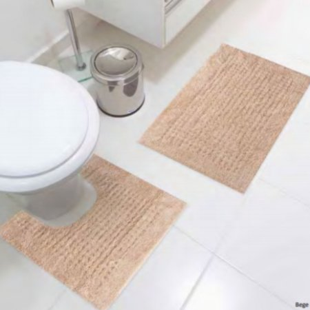 Jogo De Tapetes Para Banheiro Agra Bege Jolitex