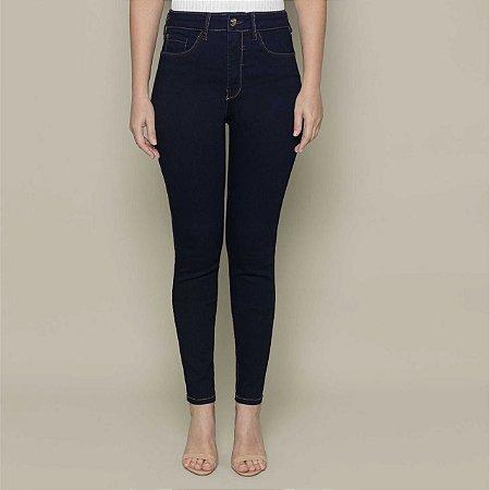 Calça Skinny com Elastano Chapa Barriga Jeans Preto Lunender