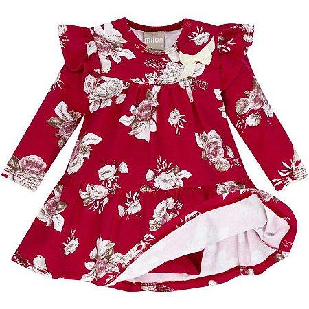 Vestido Milon Infantil Floral Rosa com Body