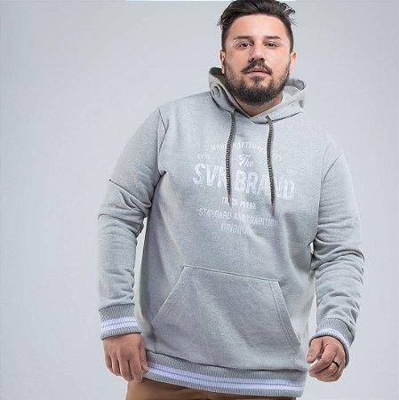 Blusão com Bolso Canguru Cinza Svk Plus Size