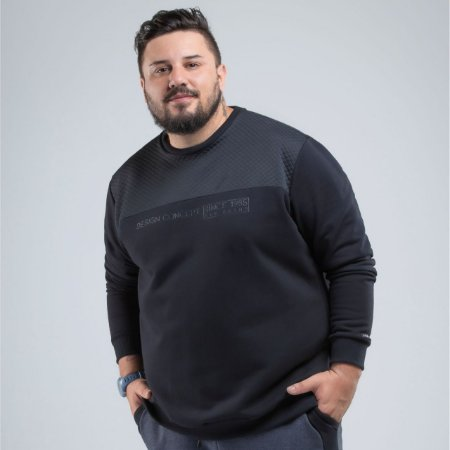 Blusão Masculino Moletom Detalhe Matelasse Plus Size Svk