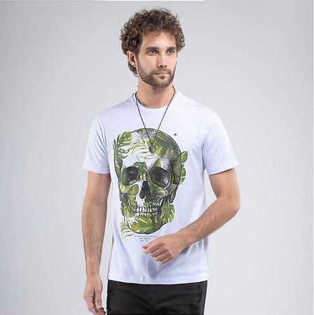Camiseta Branca Manga Curta com Estampa Caveira Svk