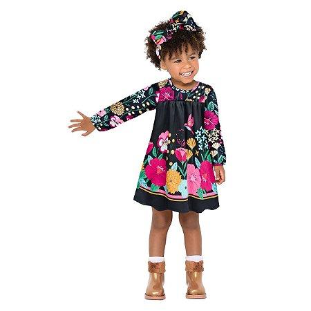 Vestido Infantil Meia Malha Manga Longa Nanai - Floral
