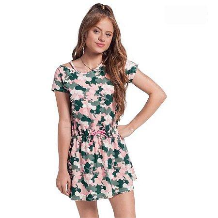 Vestido Teen Meia Malha Estampa Flamingo Amora