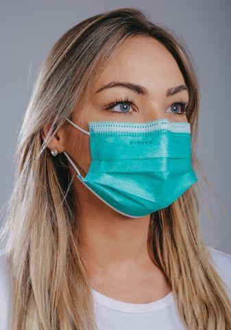 Máscara cirúrgica tripla c/ elástico cx. c/ 50 und. VERDE