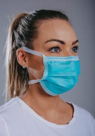 Máscara cirúrgica tripla c/ tiras cx. c/ 100 und. AZUL