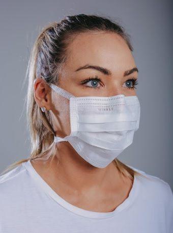 Máscara cirúrgica tripla c/ tiras cx. c/ 100 und. BRANCA
