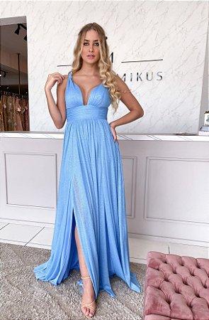 Vestido glitter azul serenity