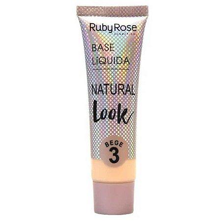BASE LÍQUIDA NATURAL LOOK RUBY ROSE - BEGE 3