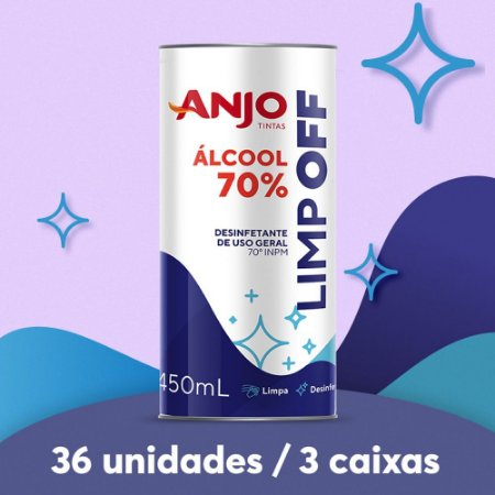 ÁLCOOL LÍQUIDO 70% 450ML (3 caixas/36 unidades)