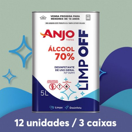 ÁLCOOL LÍQUIDO 70% 5L (3 caixas/12 unidades)