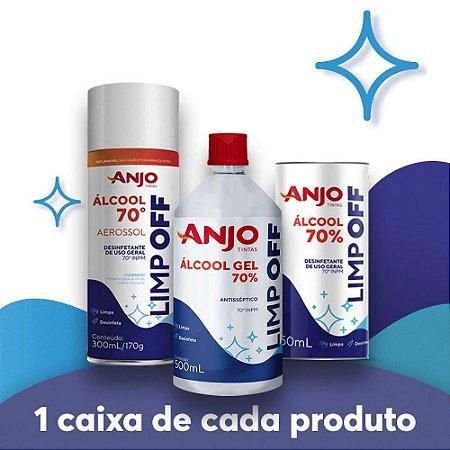 KIT COMBO 1 (12un. Álcool Aerossol 70% 300mL/170g + 12un. Álcool Gel 70% 500mL + 12un. Álcool Líquido 70% 450mL)