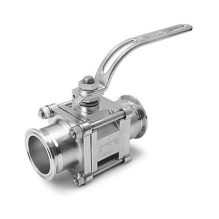 Válvula de Esfera Tripartida Sanitário 400Psi com conexão para Tubo OD