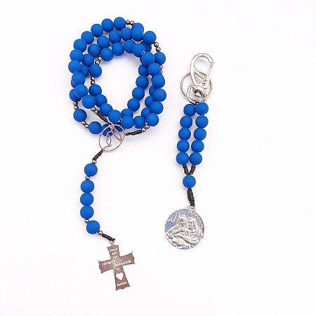 Kit - Terço Acampamento Rainha da Paz + Chaveiro Sagrada Família Azul