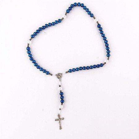 Kit com 04 Terços Nossa Senhora de 12 Estrelas Azul Royal e Branco