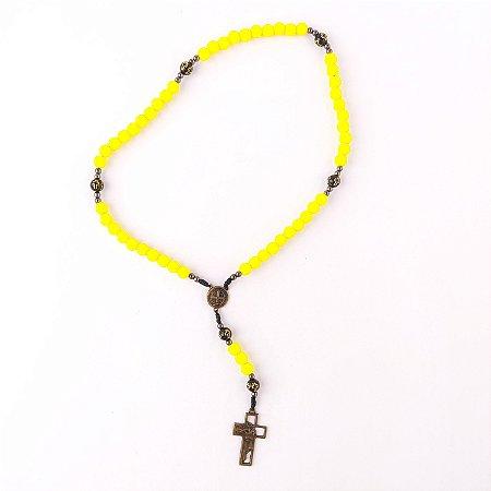 Kit 10 Terços São Bento Amarelo e Preto