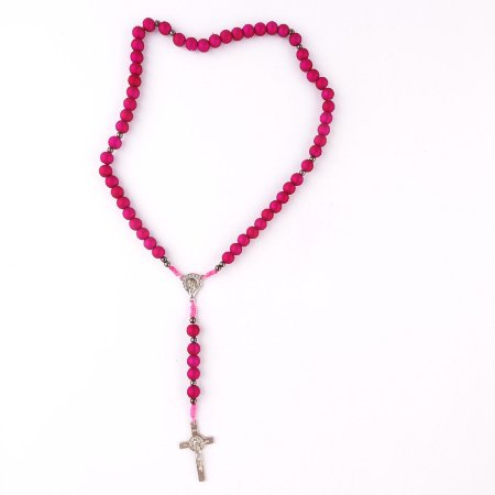 kit com 05 Terços Nossa Senhora de 12 Estrelas Rosa Fosco