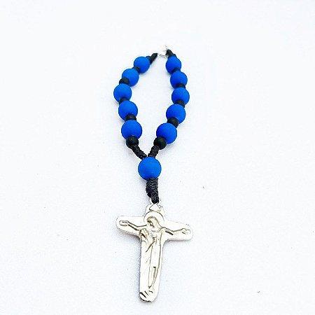 Dezena Para Carro Cruz Sagrada Azul e Preto