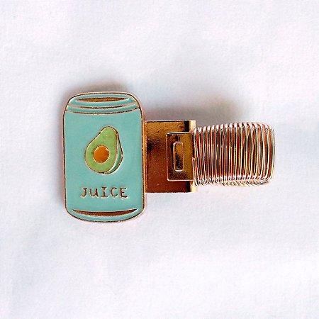 Clipe Porta Caneta de Metal com Mola Latinha Juice Abacate Azul