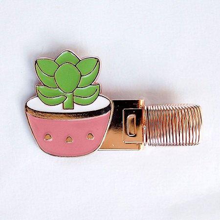 Clipe Porta Caneta de Metal com Mola Cactus Suculenta Rosa