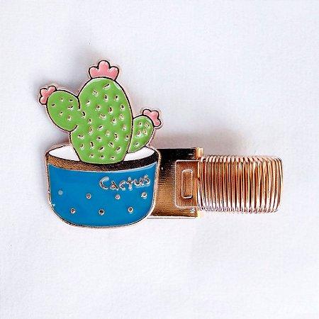 Clipe Porta Caneta de Metal com Mola Cactus Azul