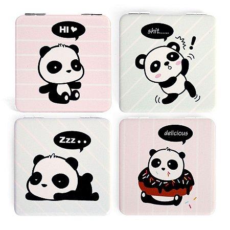 Espelho de Bolsa Quadrado Duplo Dobrável Fofo Panda