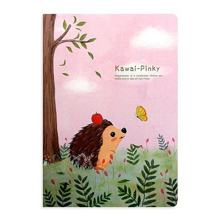 Caderno Brochura Porco Espinho Rosa Borboleta